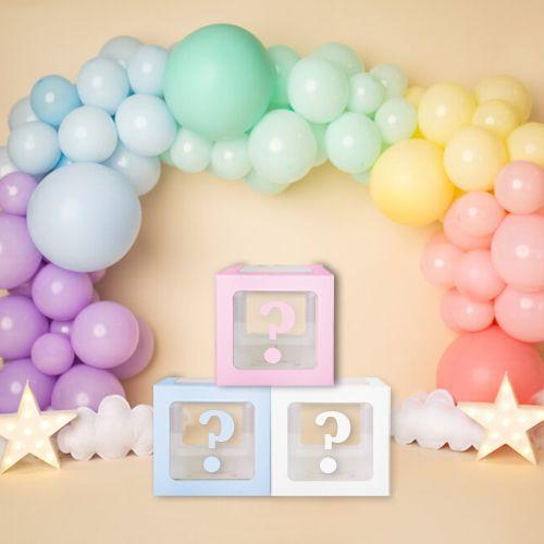 Soru İşareti Şeffaf Balon Kutusu Mavi-Beyaz-Pembe 16,5 cm, fiyatı