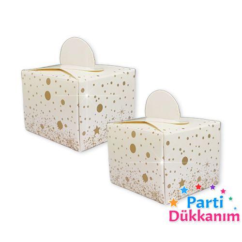 Beyaz Üzeri Gold Parıltı Lokum Kutusu (50 adet), fiyatı