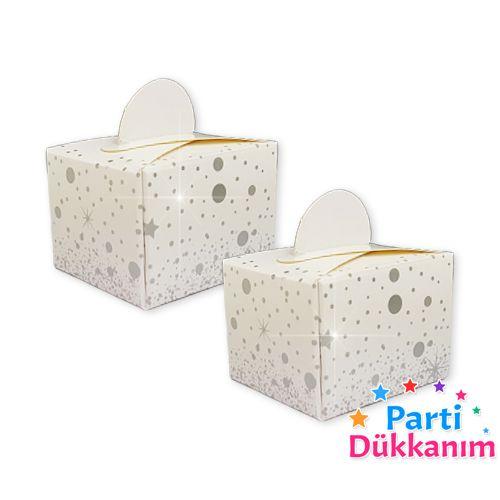 Beyaz Üzeri Gümüş Parıltı Lokum Kutusu (50 adet), fiyatı