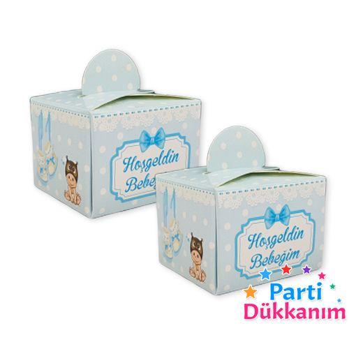 Hoş Geldin Bebeğim Lokum Kutusu Mavi (50 adet), fiyatı