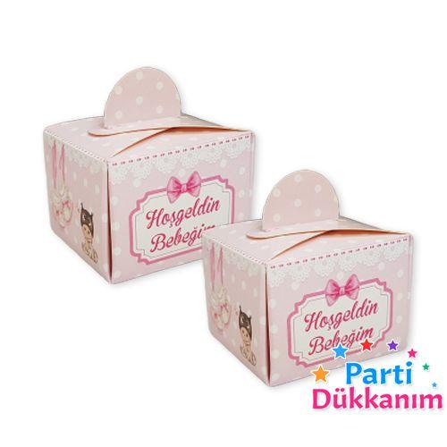 Hoş Geldin Bebeğim Lokum Kutusu Pembe (50 adet), fiyatı