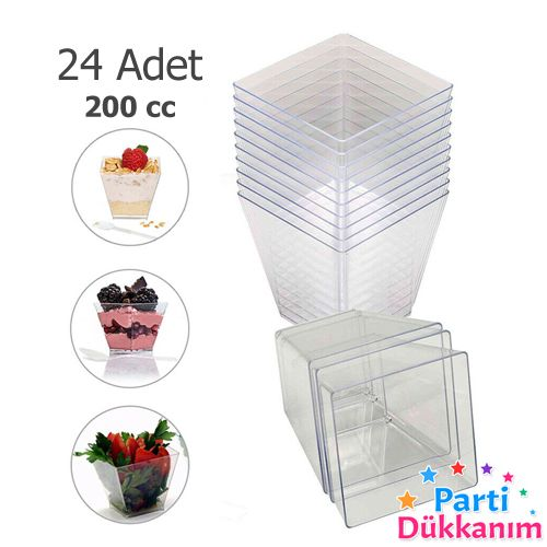 Sert Plastik Magnolia Kabı Kübik Pramit 200 cc (24 Adet), fiyatı