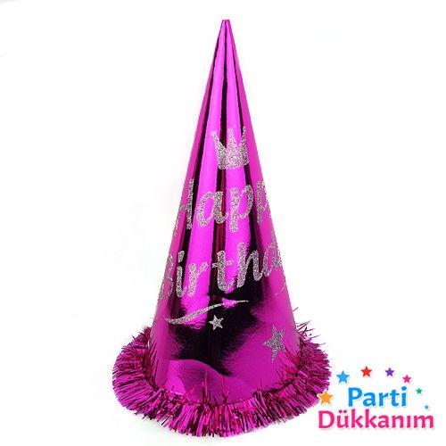 Happy Birthday Simli Külah Şapka (1 adet) Fuşya, fiyatı
