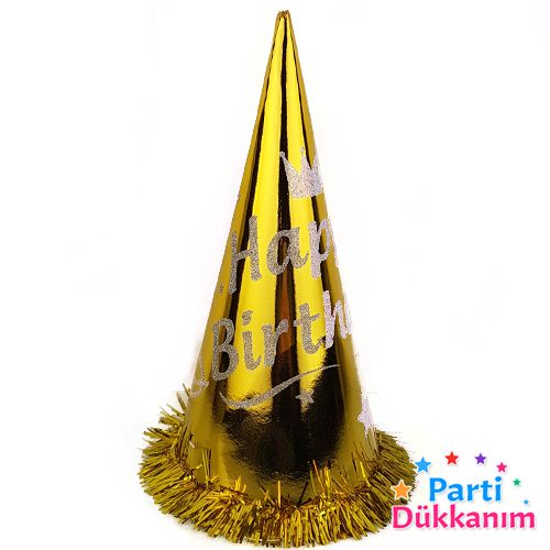 Happy Birthday Simli Külah Şapka (1 adet) Gold, fiyatı