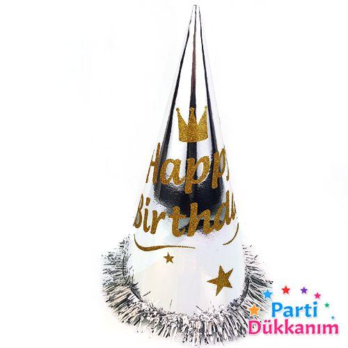 Happy Birthday Simli Külah Şapka (1 adet) Gümüş, fiyatı