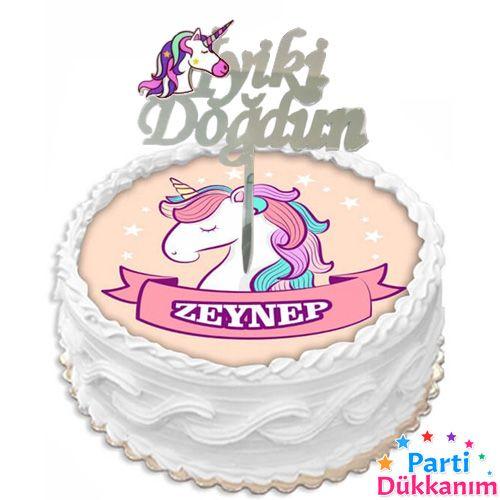 Unicorn İyi Ki Doğdun Pleksi Pasta Süsü, fiyatı
