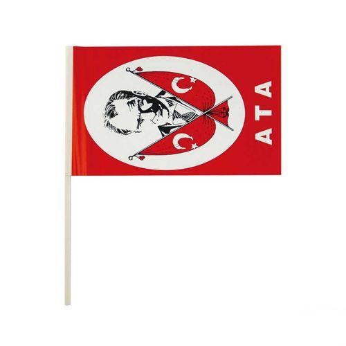 Atatürk Baskılı Çıtalı Bayrak 24 cm 10 adet, fiyatı