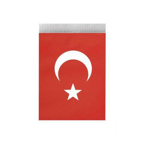 İpli Ay Yıldızlı Bayrak Mini Boy 19*11 cm 50'li, fiyatı