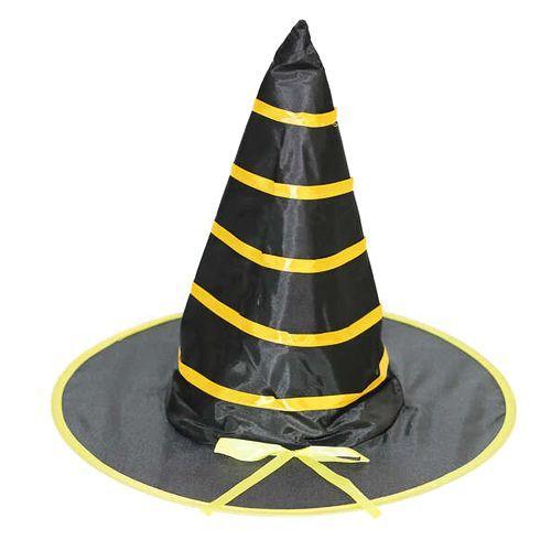 Halloween Cadı Şapkası Kumaş Siyah Sarı 38 cm, fiyatı