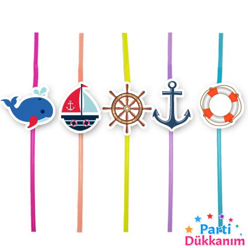 Denizci Temalı Artistik Pipet 10 Adet, fiyatı
