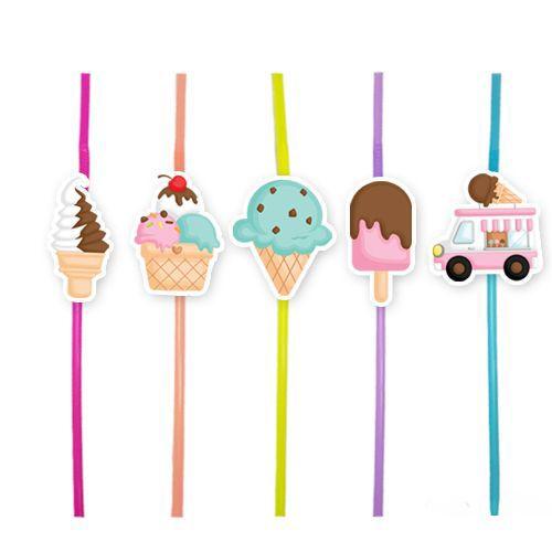 Dondurma Temalı Artistik Pipet 10 Adet, fiyatı