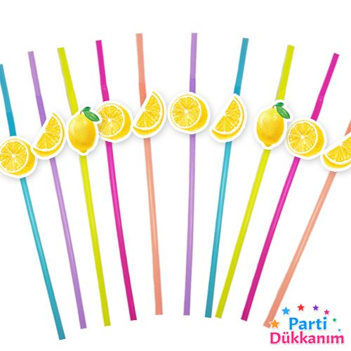 Limon Temalı Artistik Pipet 10 Adet, fiyatı