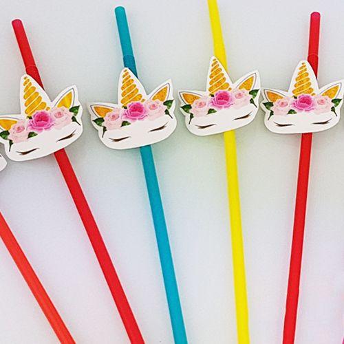 Unicorn Çiçekli Artistik Pipet (10 Adet), fiyatı