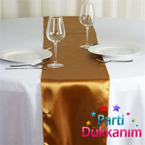 Gold Saten Runner Lüks 35x205 cm