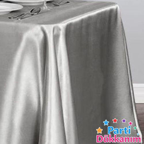 Gümüş Masa Örtüsü Saten Lüks 150x205 cm, fiyatı