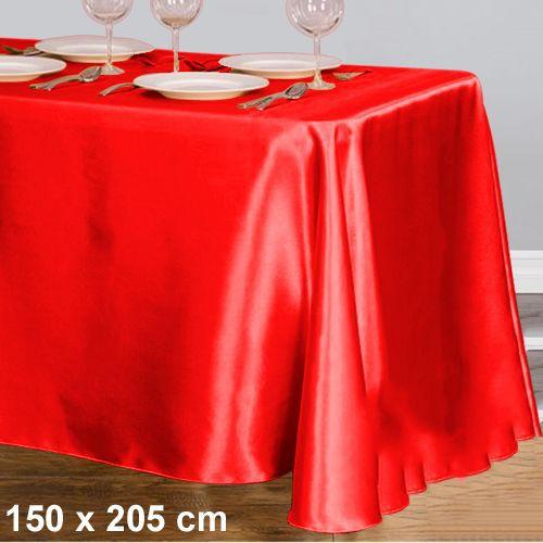 Kırmızı Masa Örtüsü Saten Lüks 150x205 cm