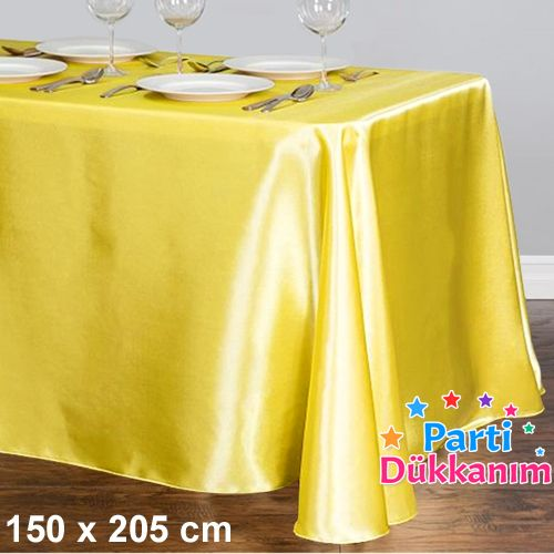 Sarı Masa Örtüsü Saten Lüks 150x205 cm