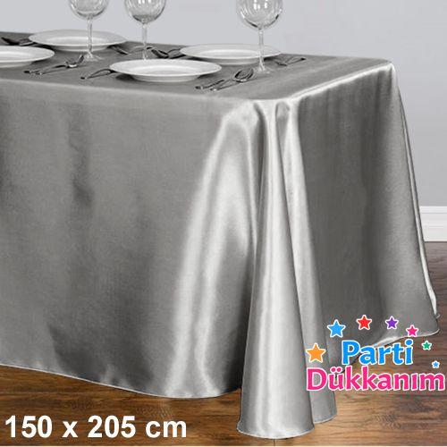 Gümüş Masa Örtüsü Saten Lüks 150x205 cm