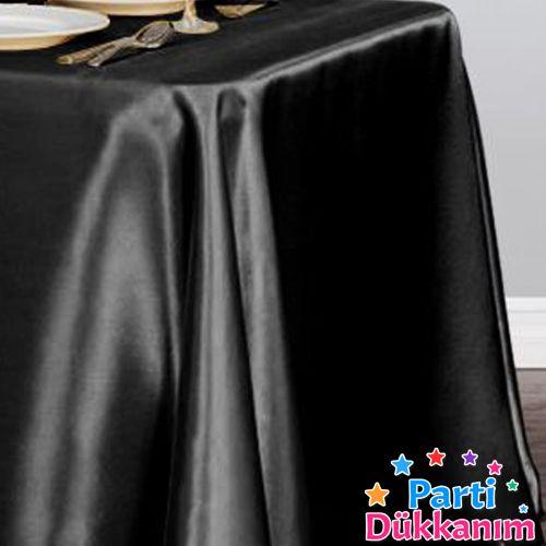 Siyah Masa Örtüsü Saten Lüks 150x205 cm, fiyatı