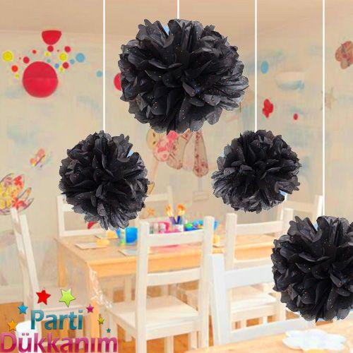 Siyah Üzeri Renkli Puanlı PonPon Süs (30 cm)