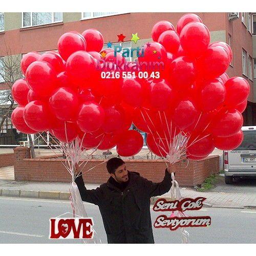 Kırmızı Uçan Balon Demeti \'\'MAĞAZADAN\'\' (100 adet)