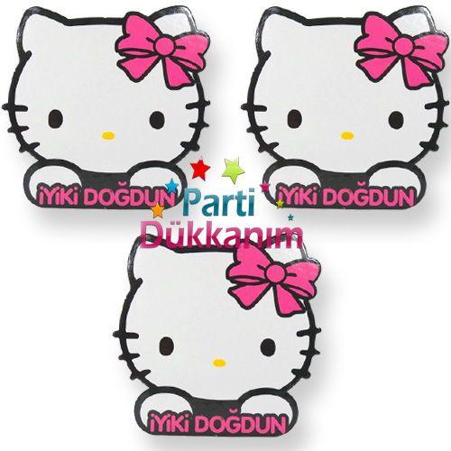 Hello Kitty Dekoratif Süs 3 Adet (12x12 cm)