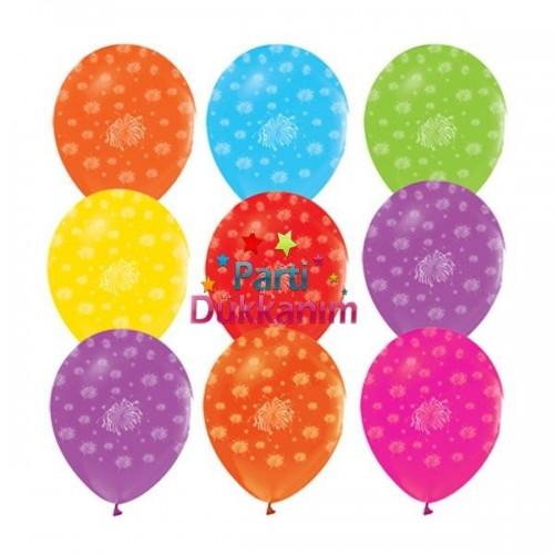 Havai Fişek Desenli Rengarenk Balon (100 Adet)