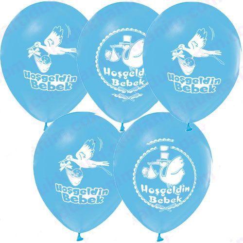 Hoşgeldin Bebek Balonu Mavi (20 adet )