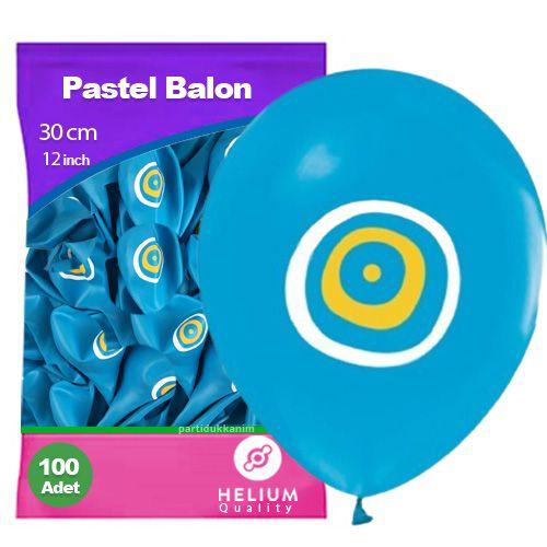 Açık Mavi Nazar Boncuklu Balon (100 adet)