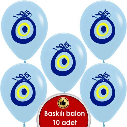 Açık Mavi Nazar Boncuklu Balon (20 adet)