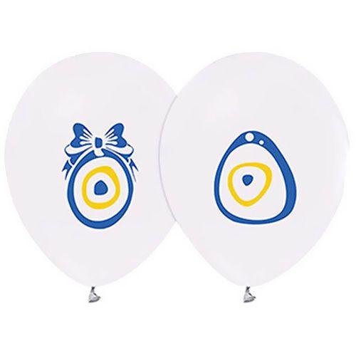 Nazar Boncuklu Balon Beyaz (20 Adet)