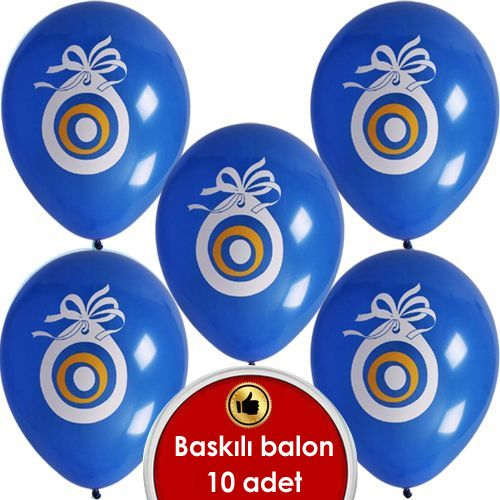 Mavi Nazar Boncuklu Balon (20 Adet)