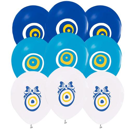 Nazar Boncuklu Renkli Balon 100 Adet