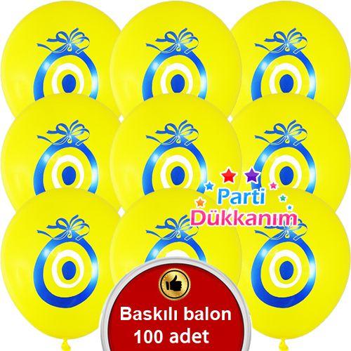 Nazar Boncuklu Balon Sarı 100 Adet