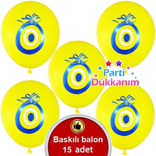 Nazar Boncuklu Balon Sarı (20 Adet)