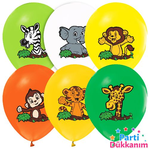 Safari Baskılı Balon (15 Adet)