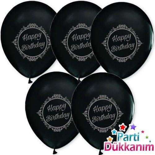 siyah gümüş baskılı happy birthday yazısı