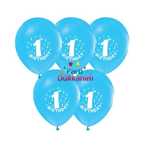1 Yaş Mavi Balon 15 adet