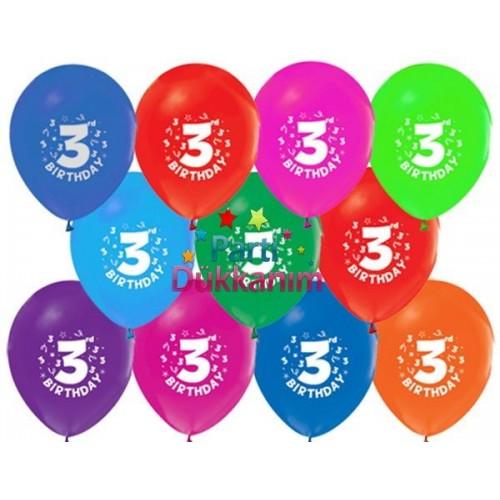 3 Yaş Balonu Renkli (100 adet)