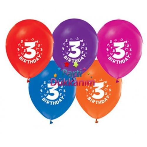 3 Yaş Balonu Renkli (15 Adet)
