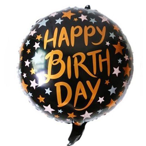 Happy Birthday Siyah - Gold Folyo Balon 45 cm, fiyatı