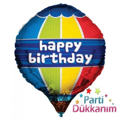 Happy Birthday Hot Air 3D Folyo Balon 45 cm