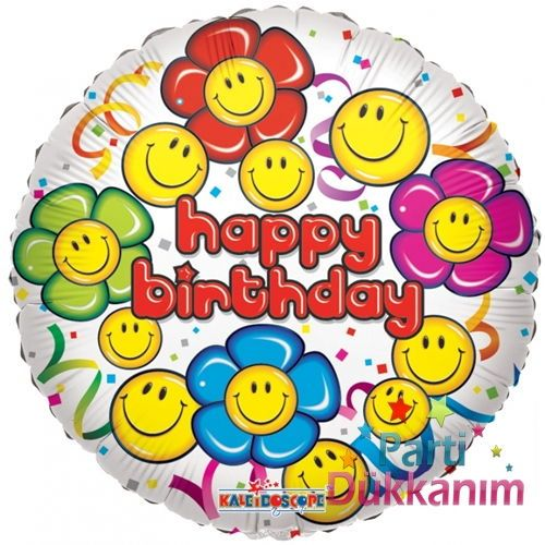 Happy Birthday Smiley Folyo Balon 45 cm