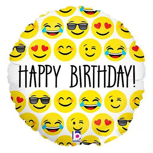 Happy Birthday Emoji Folyo Balon 18 inch