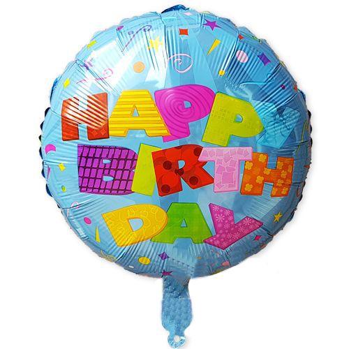 Happy Birthday Blue Confetti Folyo Balon 45 cm