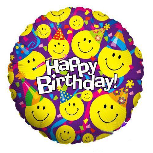 Happy Birthday Gülenyüz (Smiley) Folyo Balon 45 cm