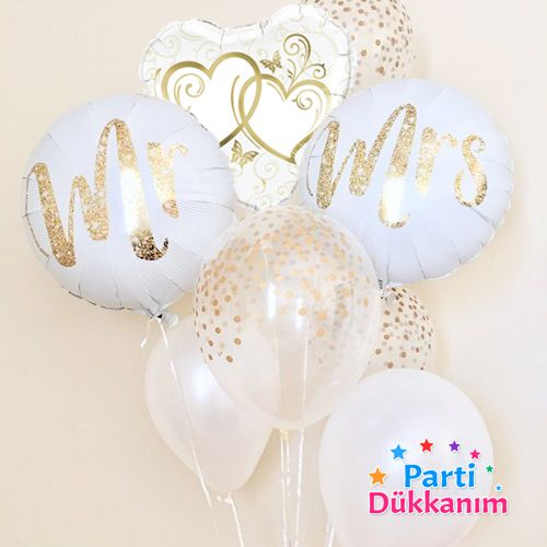 Mr & Mrs Kalp Folyo Balon Seti (3 Adet), fiyatı