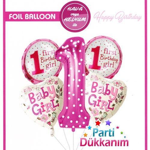 1 Yaş Folyo Balon Set Pembe