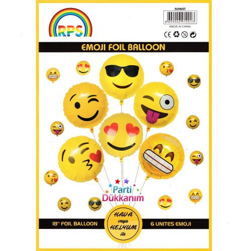 Emoji Folyo Balon Set 6 adet, fiyatı