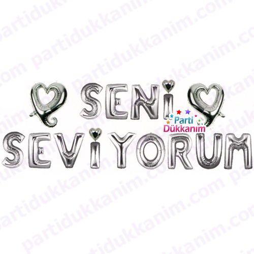 Seni Seviyorum Folyo Balon Set Gümüş (35 cm), fiyatı